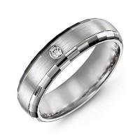 Brushed Men's Gemstone Ring with Baguette Cut Edges
