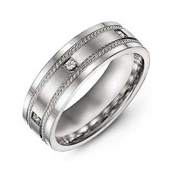 Brushed Men's Ring with Rope Detail and Gemstone Accents