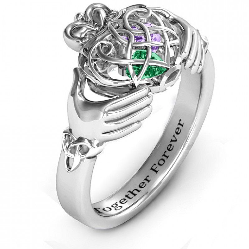 Personalised Rings Caged Hearts Celtic Claddagh Ring