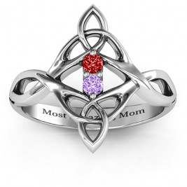 Celtic Sparkle Ring with Interwoven Infinity Band