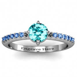 Centre Round Stone Ring with Twin Accent Rows