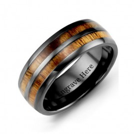 Ceramic Koa Wood Barrel Style Eternity Ring