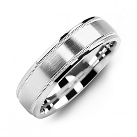 Classic Brush Milgrain Men's Ring