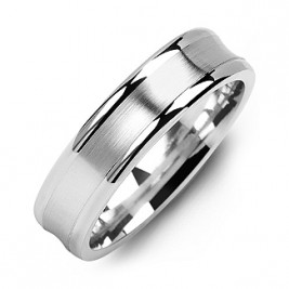 Classic Contoured Men's Ring with Brushed Centre