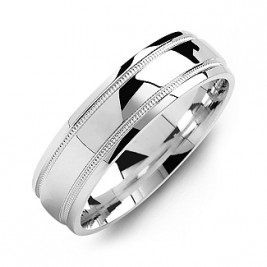 Classic Dome High-Polish Milgrain Men's Ring