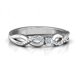 Classic Solitare Sparkle Ring with Accented Infinity Band