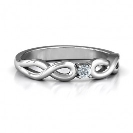 Classic Solitare Sparkle Ring with Infinity Band