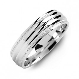 Classic Two-Line Milgrain Men's Ring