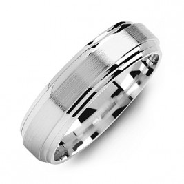 Classic Two-Line Milled-Brush Men's Ring