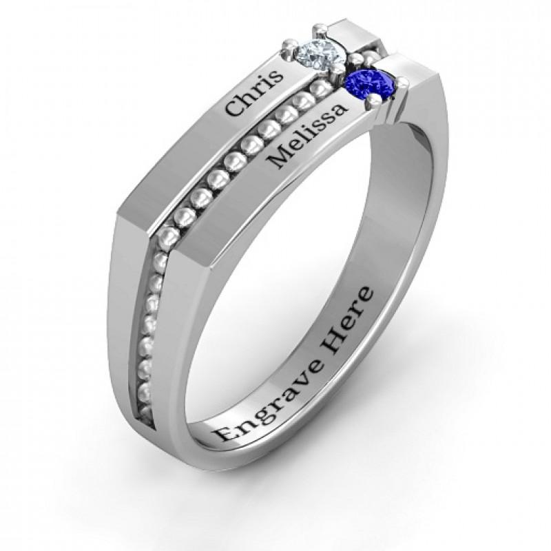 Crevice Beaded Women's Ring
