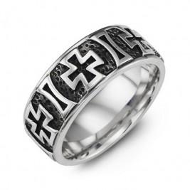 Cross Pattern Cobalt Ring