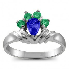 Crown Pear 2-8 Stones Ring
