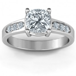 Cushion Cut Solitaire with Accents Ring