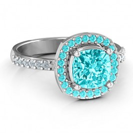 Cushion Cut Statement Ring with Halo