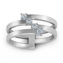 Diagonal Dazzle Ring With 4-5 Gemstones