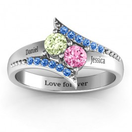 Diagonal Dream Ring With Round Stones