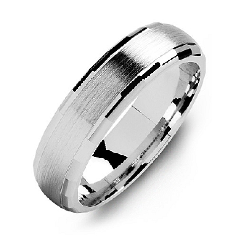 Dome Shaped Bands: Dome-Shaped Brushed Men's Ring With Baguette Edges