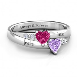 Double Heart Birthstone Gemstone Ring with Accents