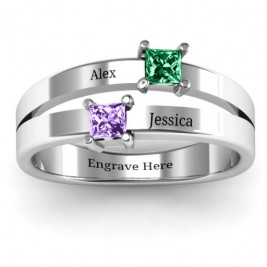 Double Princess Cut Ring
