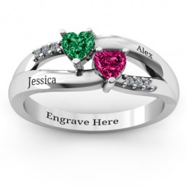 Dual Hearts with Accents Ring