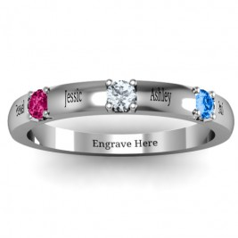 Elegant Three Gemstone Ring