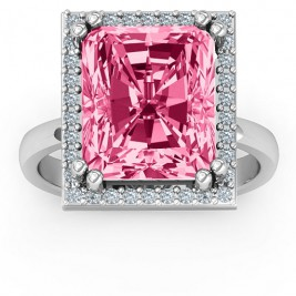 Emerald Cut Statement Ring with Halo