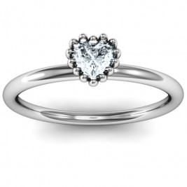 Encircled Prong Heart Ring