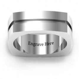 Fissure Grooved Square-shaped Men's Ring