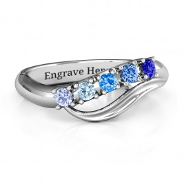 Five Stone Wave Ring