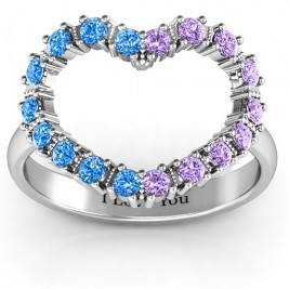 Floating Heart with Stones Ring