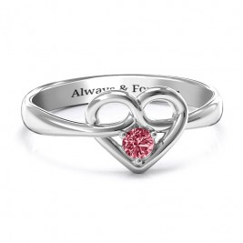 Forget Me Knot Heart Infinity Ring