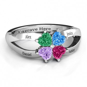 Four Clover Hearts Ring