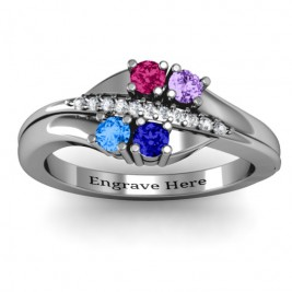 Four Stone Ring with Accents