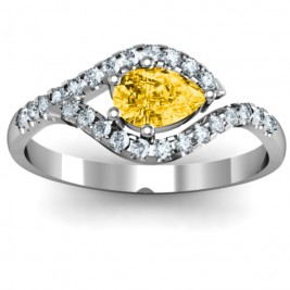 Golden Eye Pear Ring with Accent Infusion