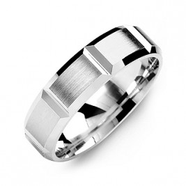 Grooved Men's Ring with Brushed Surface
