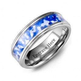 Grooved Tungsten Ring with Royal Blue Camouflage Insert