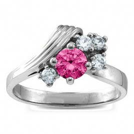 Grooved Wave 2-9 Gemstones Ring