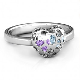 Heart Cut-out Petite Caged Hearts Ring with Infinity Band