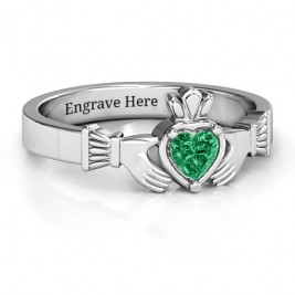 Heart Stone Claddagh Ring
