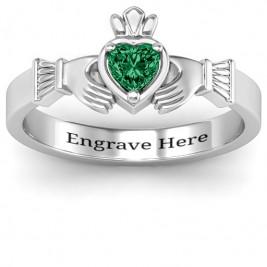 Heart Stone Claddagh Ring