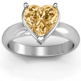 Heart Stone in a Double Gallery Setting Ring