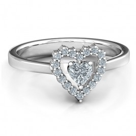 Heart in Heart Halo Ring