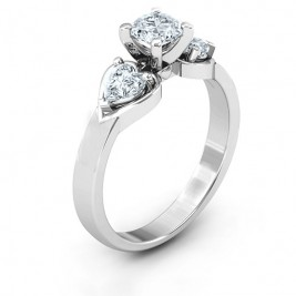 Hearts and Stones Solitaire Ring