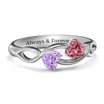 Heavenly Hearts Ring with Heart Gemstones