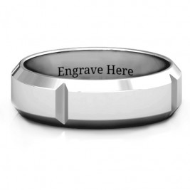 Hercules Quad Bevelled and Grooved Men's Ring