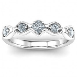 Infinite Wave with Princess Cut Centre Stone Ring