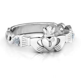 Infinity Claddagh With Side Stones Ring
