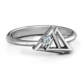 Interlocked Triangle Geometric Ring