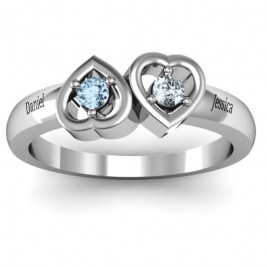 Inverted Kissing Hearts Ring