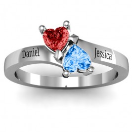 Inverted Twin Heart Ring